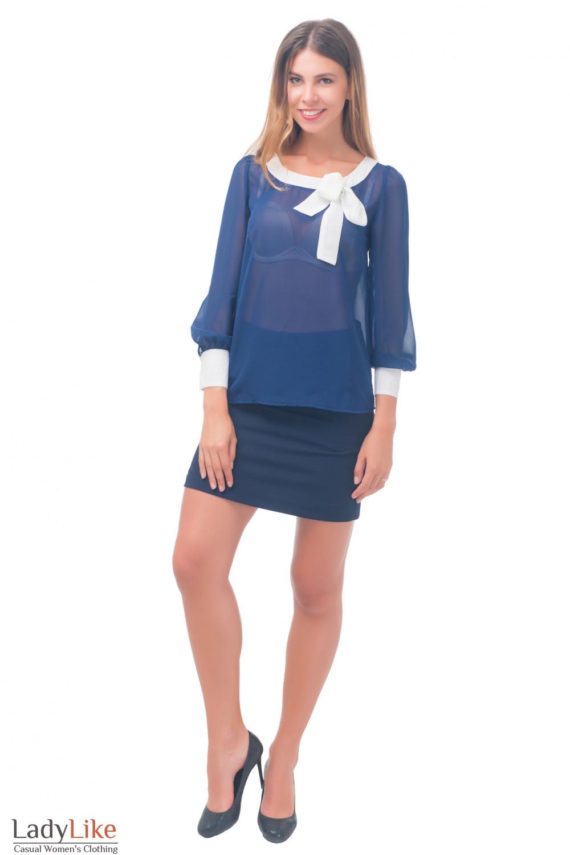 Купить юлузку синюю с белой горловиной Деловая женская одежда