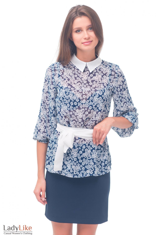 блузки синие с белыми воротниками фасоны