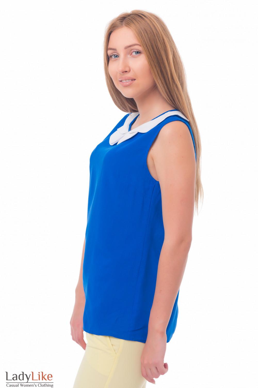 Купить блузка синяя с двойным белым воротником Деловая женская одежда