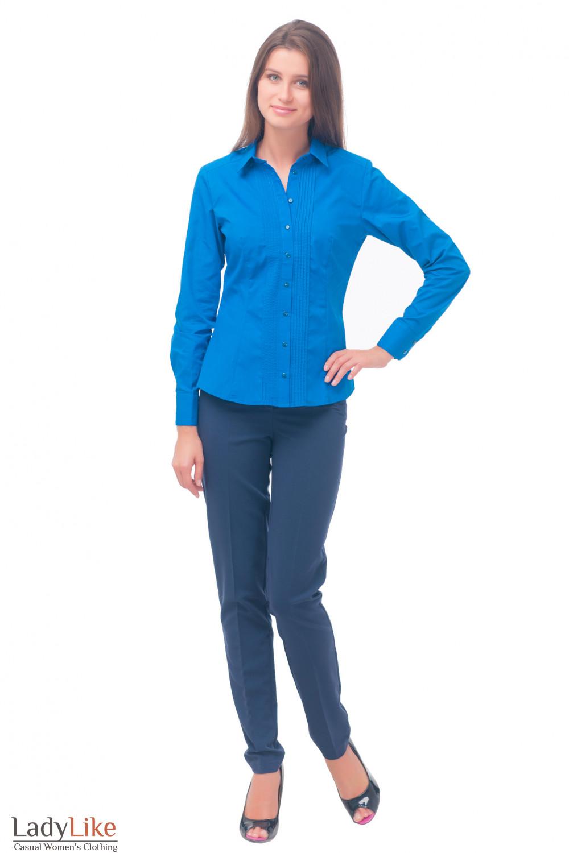Купить блузку синюю с тонкими защипами Деловая женская одежда