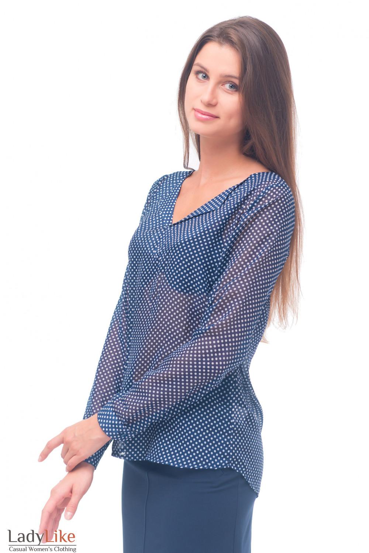Купить блузку синюю в белый горошек без пуговиц Деловая женская одежда