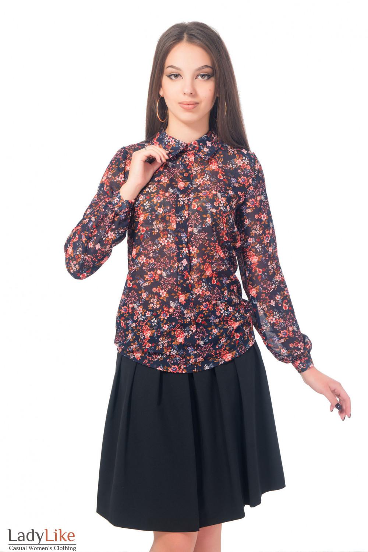 Блузка синяя в цветочек с планочкой Деловая женская одежда