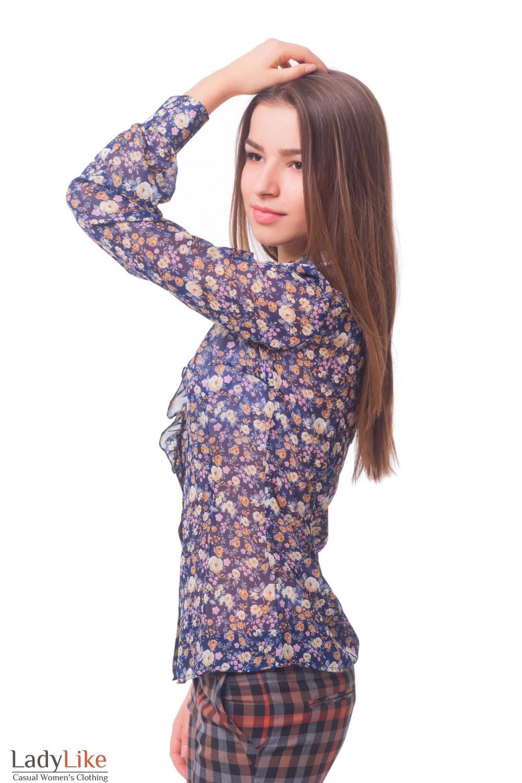 Купить блузку синюю в коричневый цветочек с рюшем Деловая женская одежда