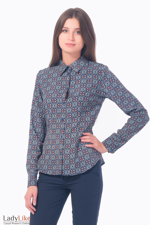 Блузка синяя в красный узор Деловая женская одежда