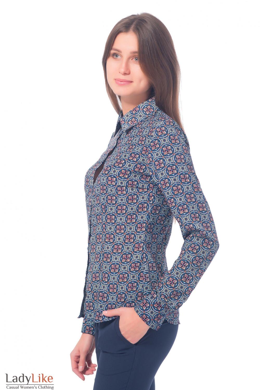 Купить классическую блузку синюю в красный узор  Деловая женская одежда