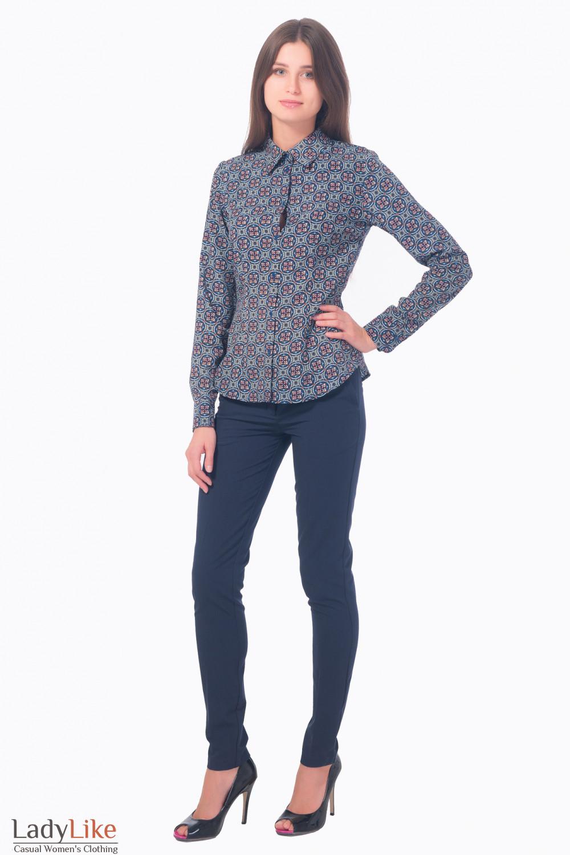 Купить блузку синюю в красный узор Деловая женская одежда