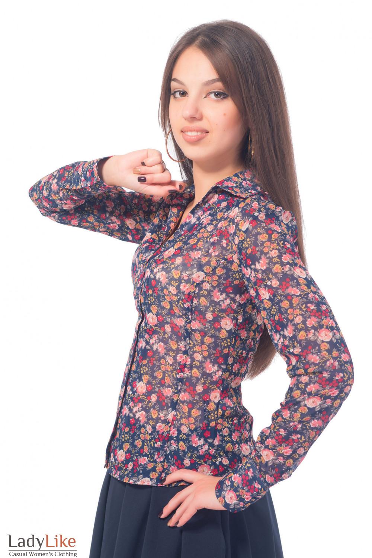 Купить блузку синюю в розовые розы Деловая женская одежда