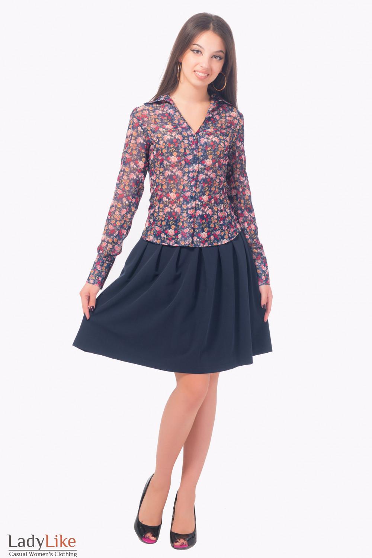 Купить блузку темно-синюю в розовые розы Деловая женская одежда