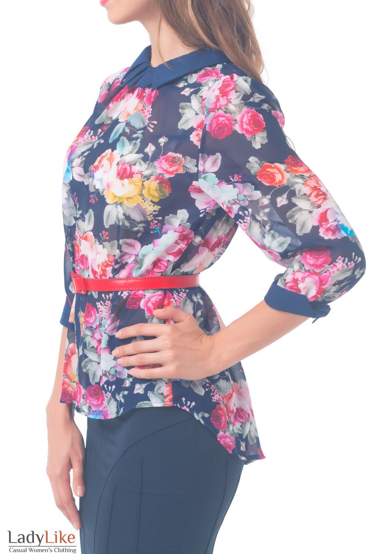 Купить блузку синюю в розы Деловая женская одежда