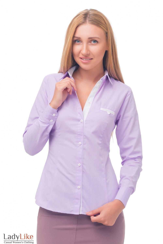 Блузка сиреневая с белым карманчиком Деловая женская одежда