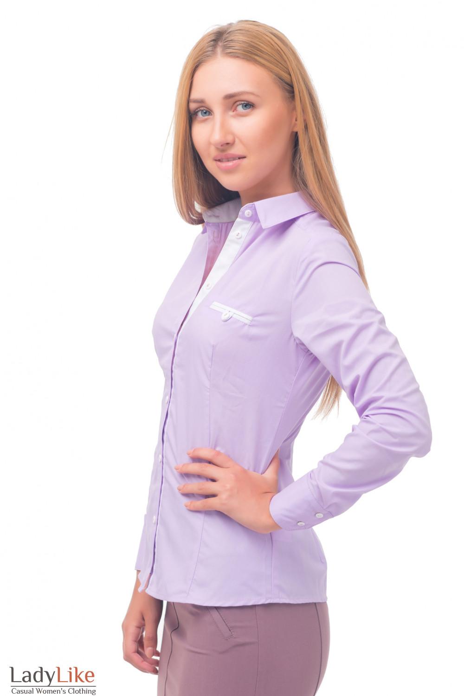 Купить блузку сиреневую с белым карманчиком Деловая женская одежда