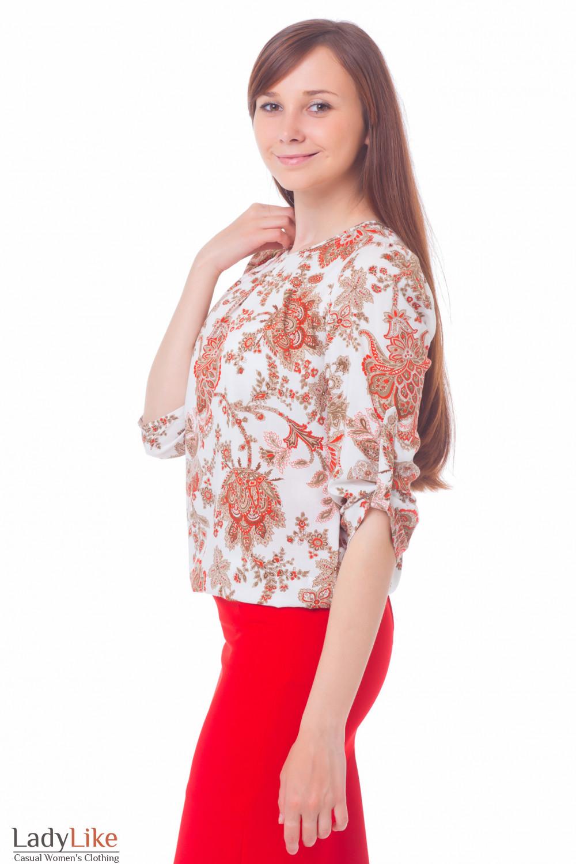 Купить Блузку в коричневый орнамент Деловая женская одежда