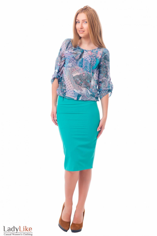 Блузка в мелкий сиреневый цветочек Деловая женская одежда
