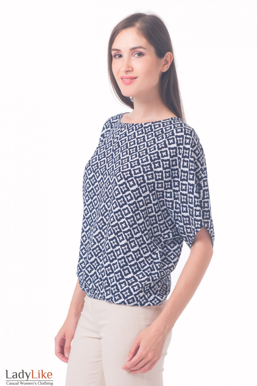 Купить блузку в ромбики на резинке Деловая женская одежда