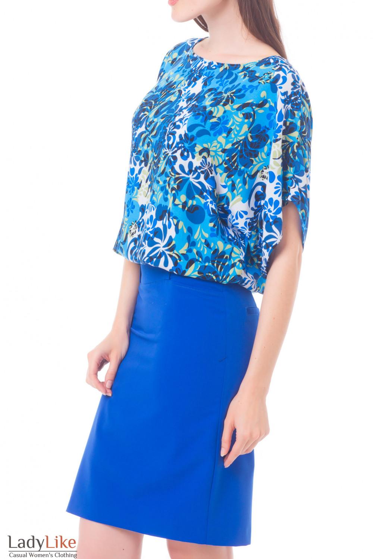 Купить летнюю блузу в синий узор Деловая женская одежда