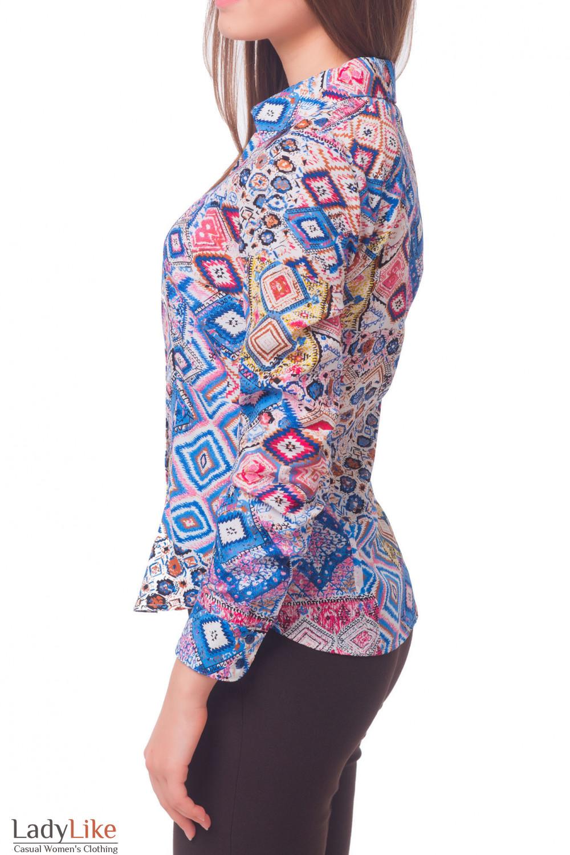 Купить классическую блузку в синие ромбики Деловая женская одежда