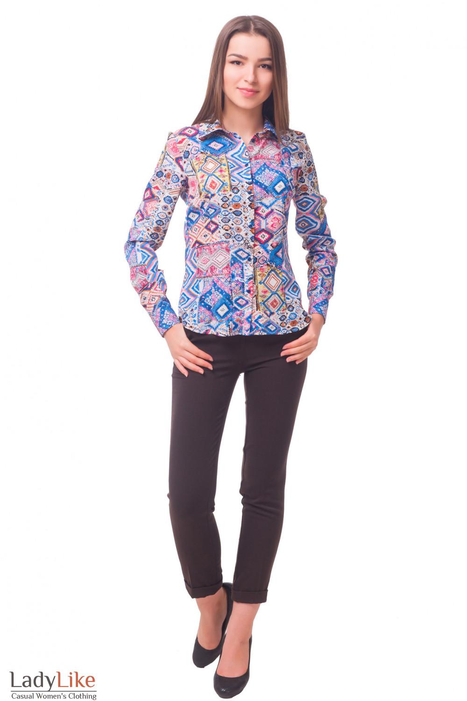 Купить блузку в синие ромбики Деловая женская одежда