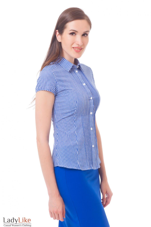 Купить блузку в синюю клетку с защипами Деловая женская одежда