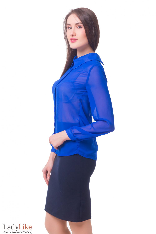 Купить блузку цвета индиго со складкой Деловая женская одежда