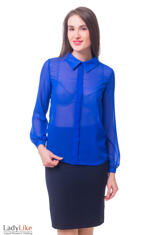 Купить блузку ярко-синюю с бантовой складочкой Деловая женская одежда