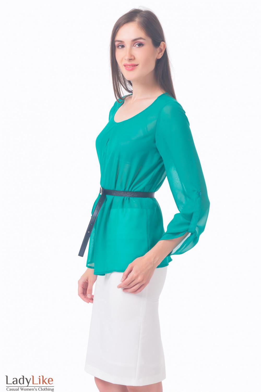 Купить блузку зеленую с защипами Деловая женская одежда