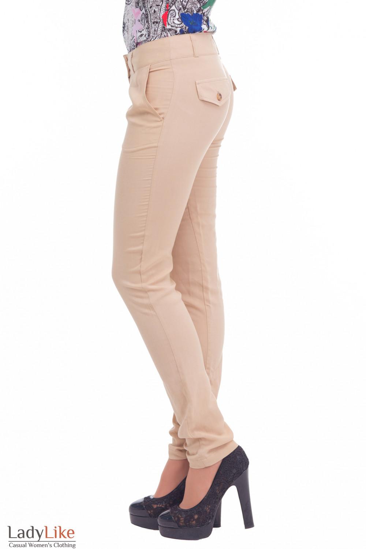Летние бежевые брюки Деловая женская одежда