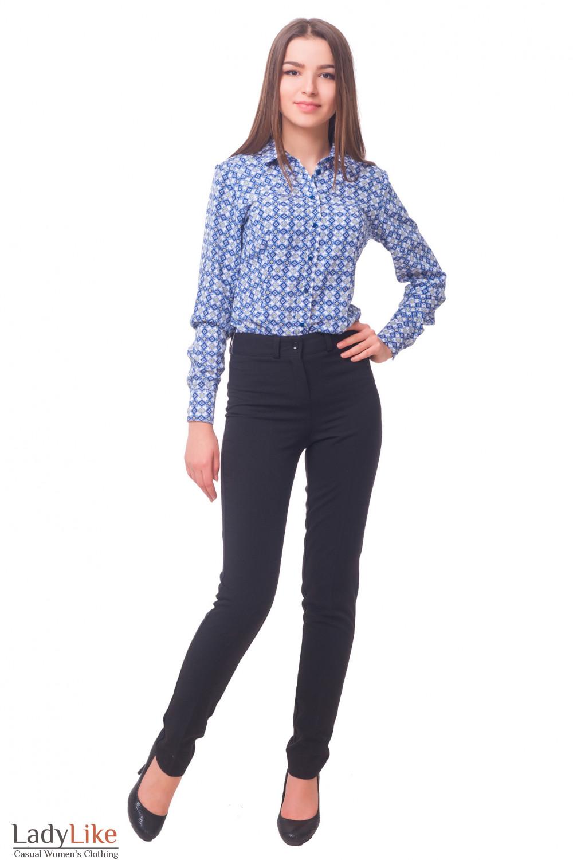 Купить брюки черные с высокой талией на флисе  Деловая женская одежда