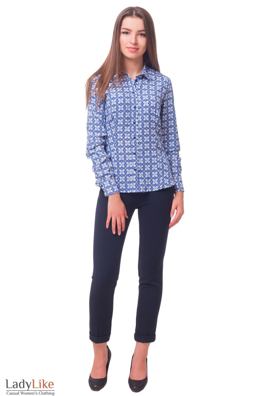 Купить теплые брюки синие с застежкой сбоку Деловая женская одежда