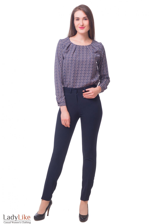 Купить брюки синие с высокой талией Деловая женская одежда