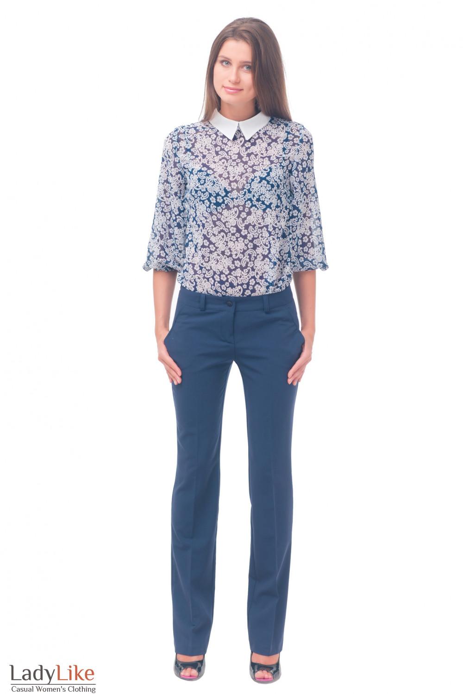 Купить брюки синие женские прямые Деловая женская одежда
