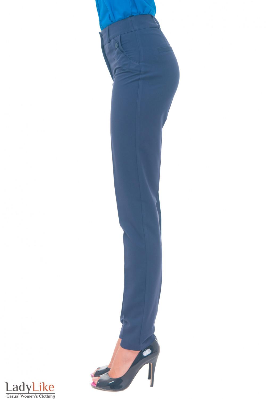 Купить брюки синие женские с клапанами Деловая женская одежда