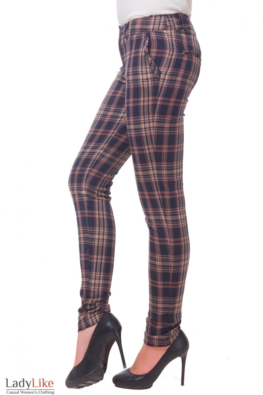 Купить брюки теплые в коричневую клетку Деловая женская одежда