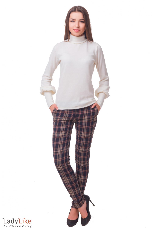 Купить брюки в коричневую клетку Деловая женская одежда