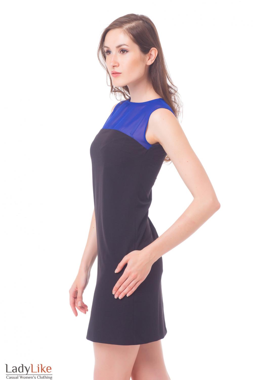 Купить черное платье с шифоновым верхом Деловая женская одежда