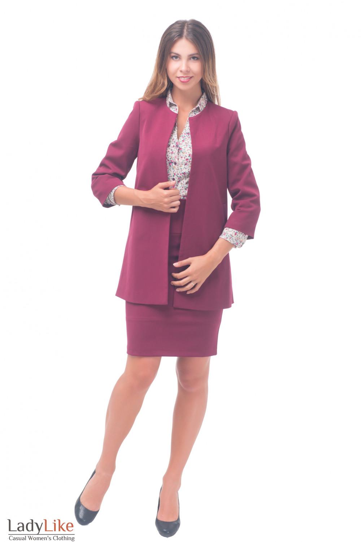 Купить кардиган бордовый теплый Деловая женская одежда