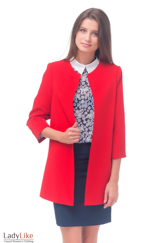 Купить кардиган ярко-красный Деловая женская одежда