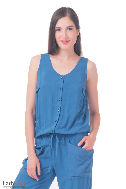 Купить комбинезон женский синий Деловая женская одежда