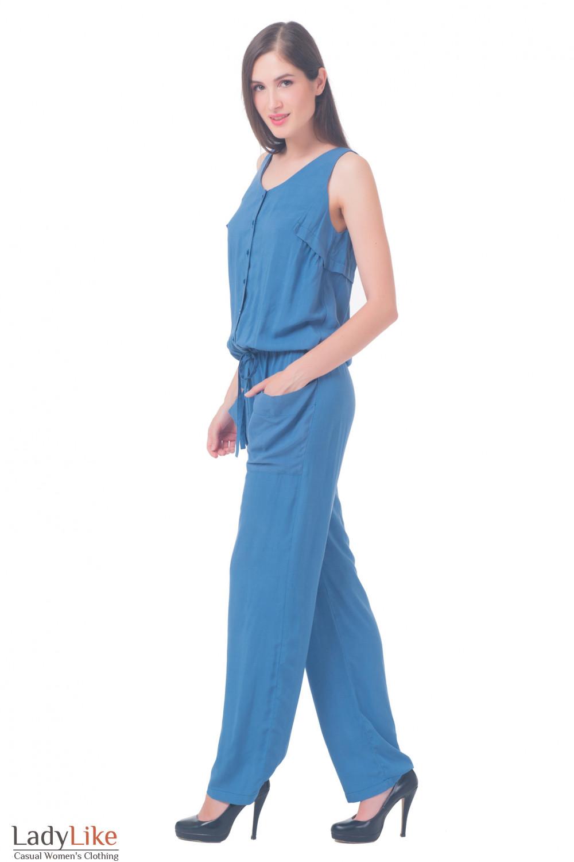 Купить комбинезон синий Деловая женская одежда