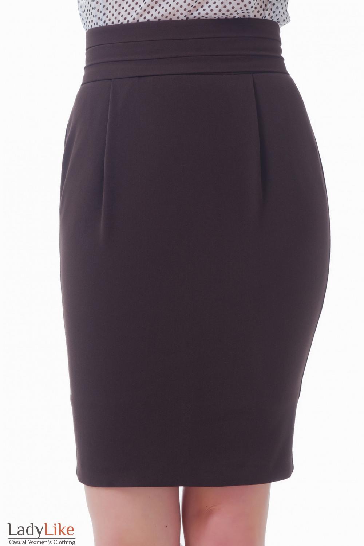 Коричневая юбка-тюльпан  Деловая женская одежда