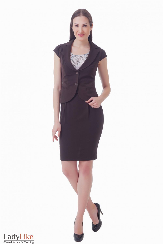 Купить коричневый костюм с юбкой Деловая женская одежда