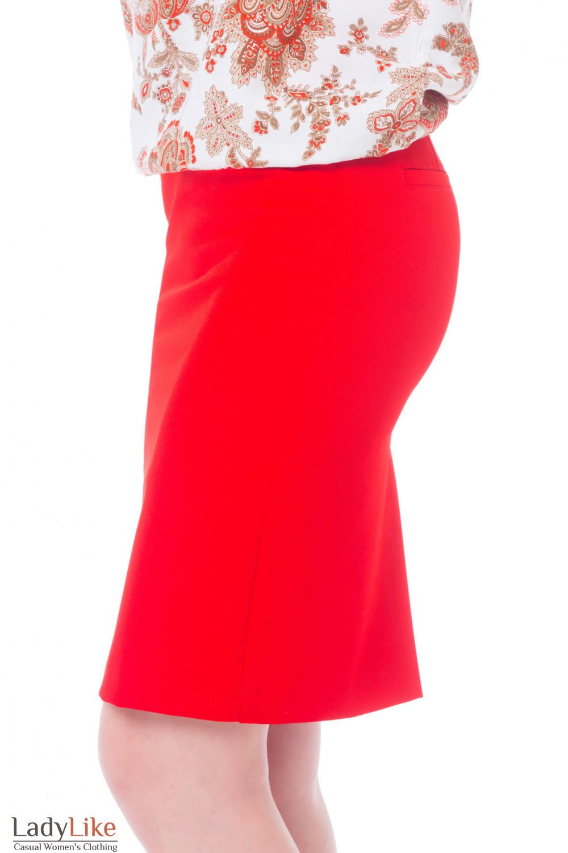 Купить красную юбку со строчками на поясе Деловая женская одежда