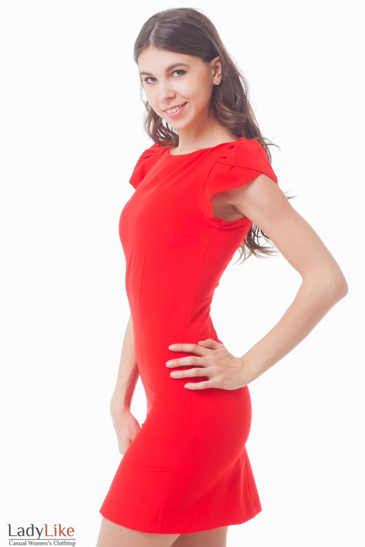 Купить красное платье-футляр с рукавчиком Деловая женская одежда