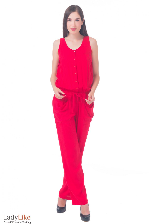 Красный женский комбинезон Деловая женская одежда