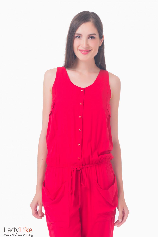 Купить красный комбинезон с карманами Деловая женская одежда