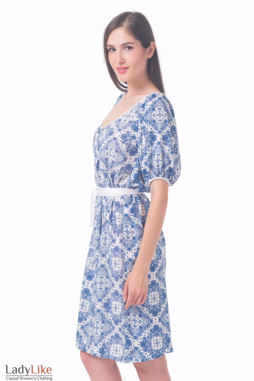 Купить платье белое в нежно-голубой узор Деловая женская одежда