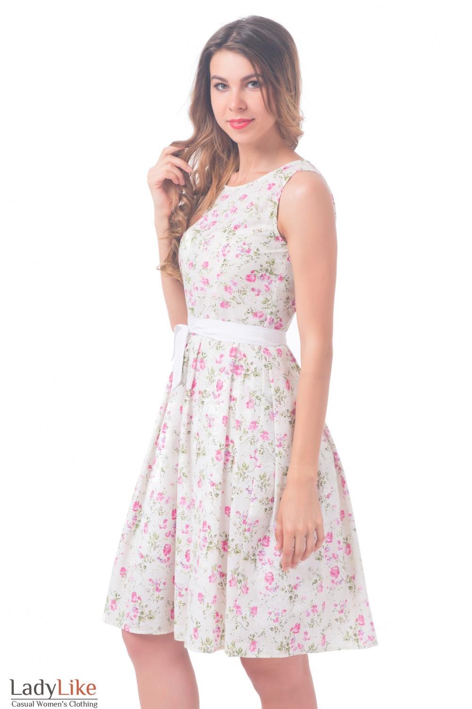 Купить платье белое в розочки Деловая женская одежда