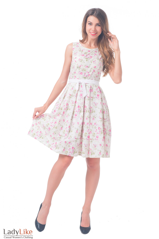 Купить платье белое в розочки с пышной юбкой Деловая женская одежда