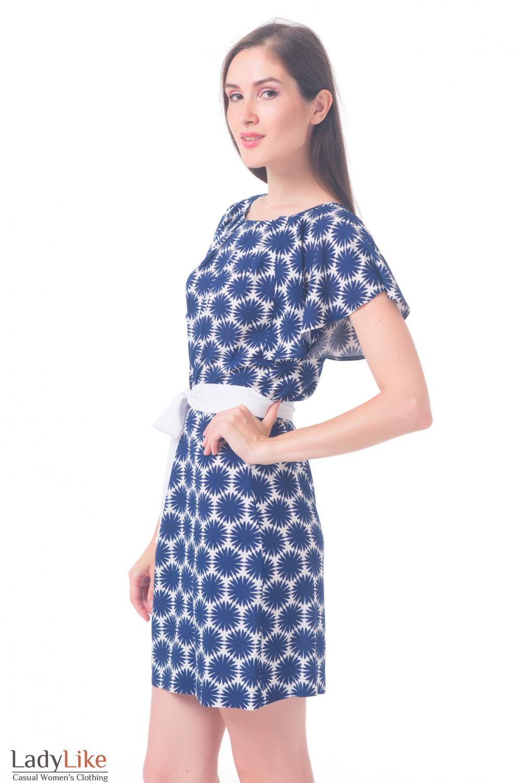 Купить платье белое в синие ромашки Деловая женская одежда