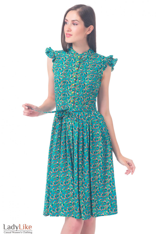 Платье бирюзовое в красный цветочек Деловая женская одежда