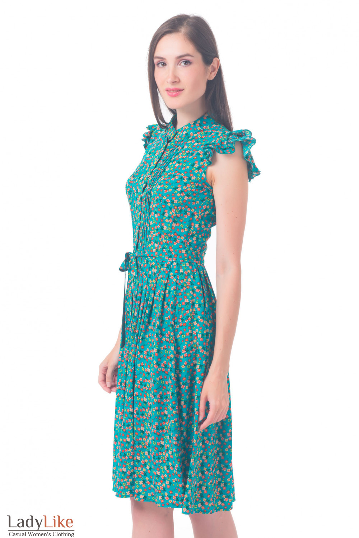 Купить платье бирюзовое в красный цветочек Деловая женская одежда
